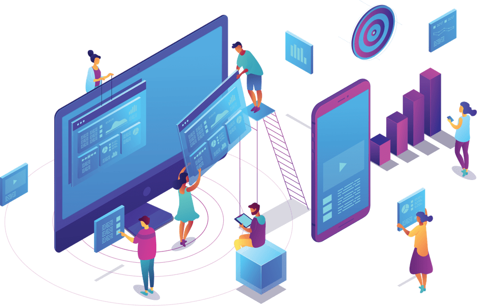 Abstract illustration of people building a website